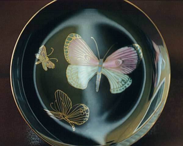 Black Luster Plate Painted with Butterflies